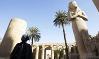 Sphinx statues uncovered on Luxor temple road